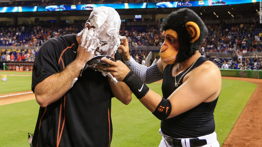 Miguel Rojas covers teammate Jose Fernandez of the Miami Marlins with shaving cream after their game against the Cincinnati Reds on Friday, July 8.