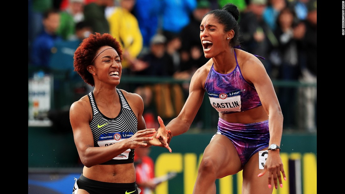 Brianna Rollins, left, and Kristi Castlin celebrate after the women's 100-meter hurdles final during the U.S. Olympic track and field team trials on Friday, July 8.