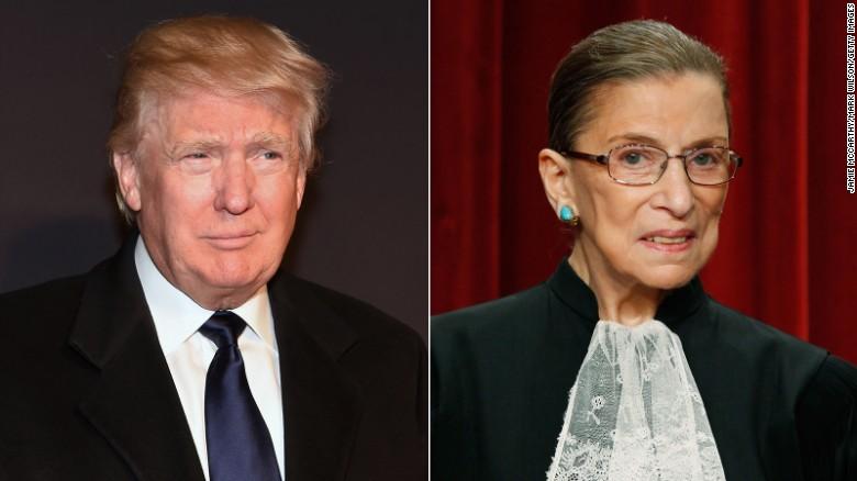 Donald Trump and Justice Ruth Bader Ginsburg