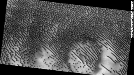 The distinctive dots and dashes are carved in the sands by Martian winds.