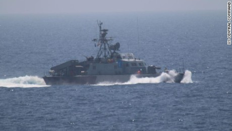 One of the Iranian ships as it approached the USS New Orleans when Centcom Commander Gen. Joseph Votel was aboard