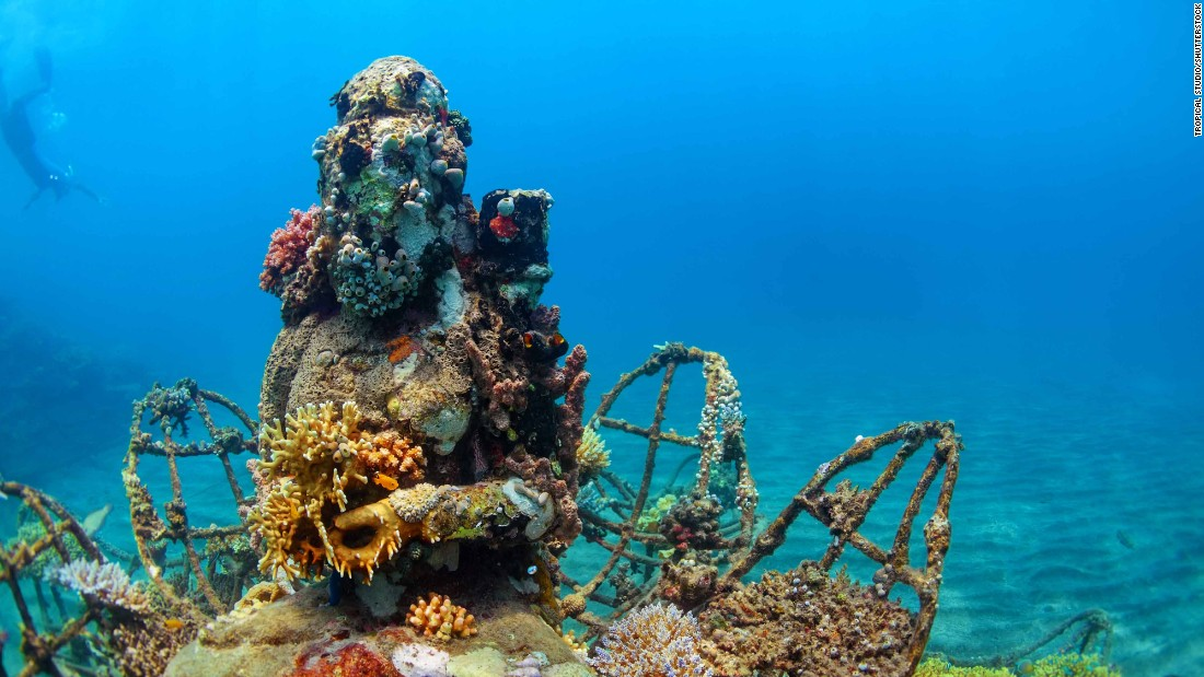 Bali's Pemeturan has sites for scuba diving among coral-covered Buddha statues, while ground-level offerings include beachfront resorts and restaurants.