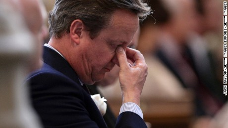 LONDON, ENGLAND - JUNE 20: British Prime Minister David Cameron attends a remembrance service for Jo Cox at St Margaret's church on June 20, 2016 in London, England. Parliament was recalled from recess today so MPs could pay tribute to Jo Cox, Labour MP for Batley and Spen, who was murdered in her constituency last Thursday. (Photo by Yui Mok - WPA Pool/Getty Images)