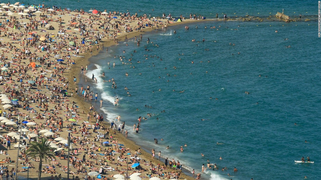 Barcelona is a European city break that offers great food, culture, nightlife and beaches. But as this shot of Barceloneta beach shows, it can get a little crowded.