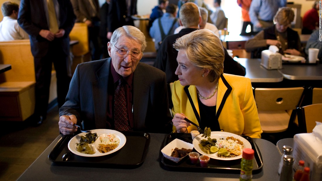 Current Democratic presumptive presidential nominee Hillary Clinton's first attempt at the presidency in 2008 included a stop to eat with South Carolina state Rep. Jimmy Bales at Doc's Barbeque and Southern Buffet in Columbia, South Carolina.