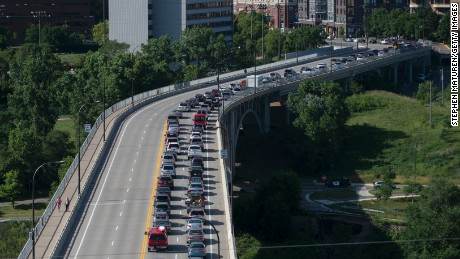 Traffic backed up on the 10th Avenue bridge as protestors disrupted traffic on highway 35W on July 13, 2016 in Minneapolis, Minnesota.