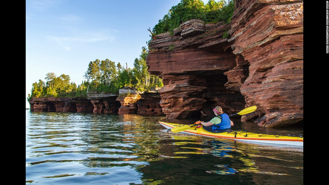 Kayaking is a great way to explore Apostle Islands National Lakeshore, a protected area that encompasses 21 Lake Superior islands and 12 miles of mainland.