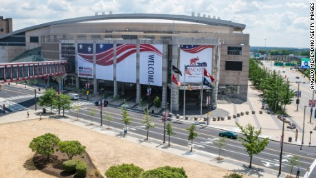 Quicken Loans Arena is decorated to welcome the Republican National Convention on July 11, 2016 in Cleveland, Ohio.