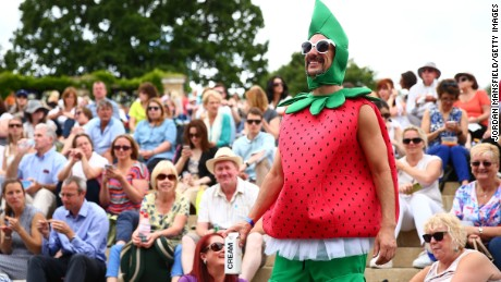 """""""Strawberry Man"""" watches the tennis from Murray mound."""