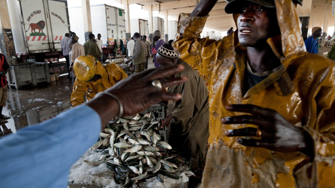 Harbour and hub of Joal. Fishermen unloading their catch at the local fish market hall.