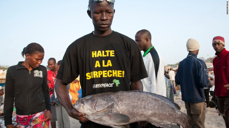 "Photos: Battle to survive on the seas Fish monger with T-shirt reading ""stop overfishing"" at Soumbedioune fish market in Dakar, Senegal."