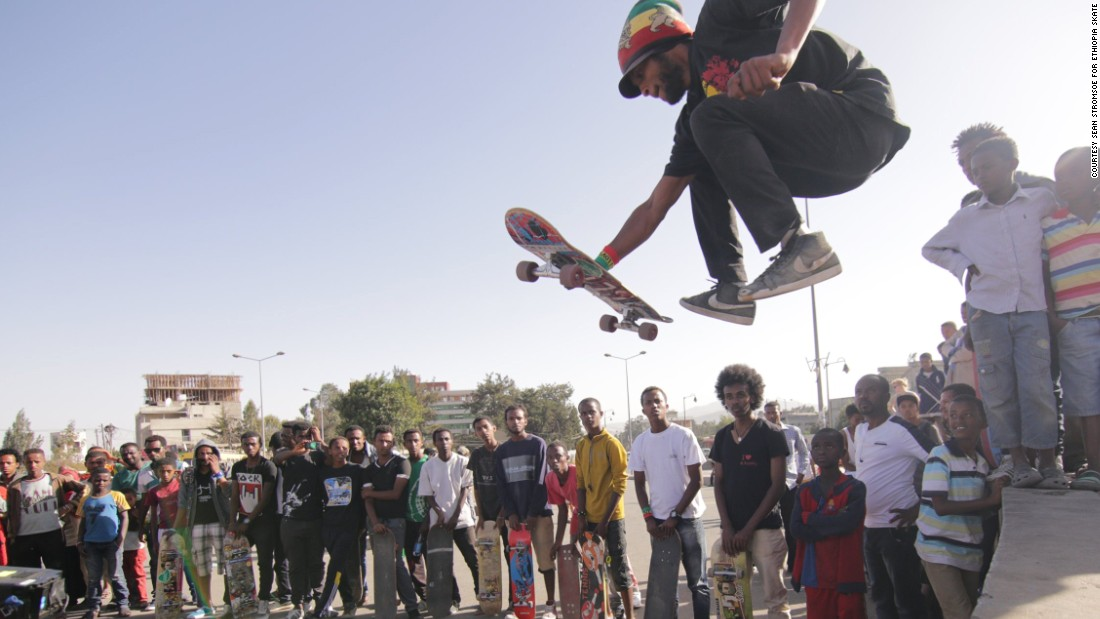 """Local crowds gather to watch the team skate. """"Ethiopians are very easy people, they are not scared at all,"""" says local skater Yared Aya."""