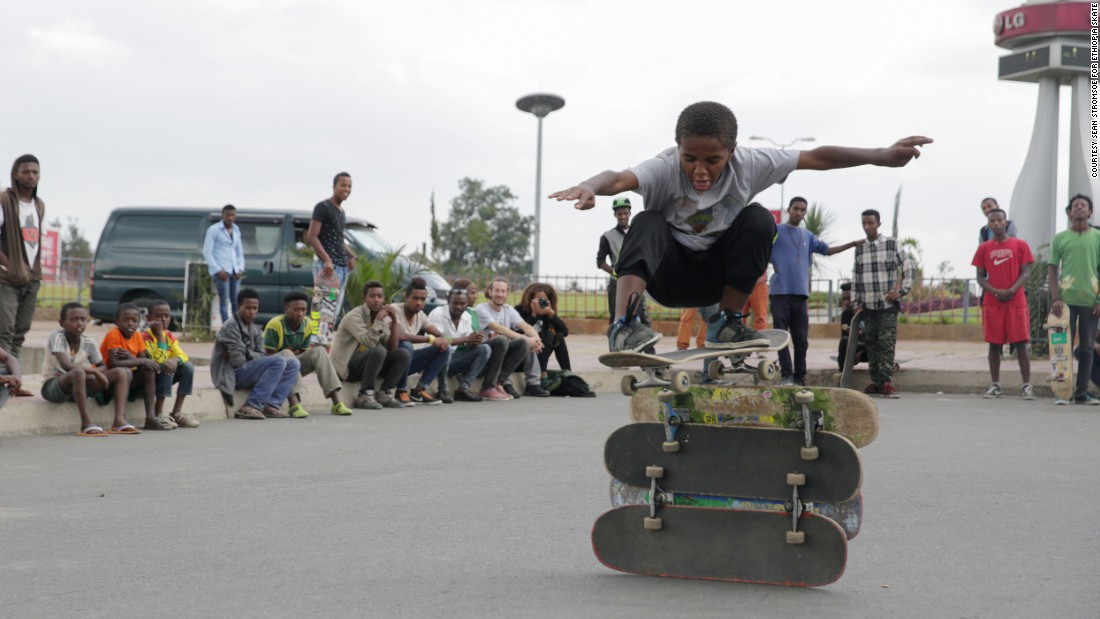 Local kids try out new tricks. The park reportedly pulls in kids from more privileged backgrounds as well as those from less well-off neighborhoods. <br />