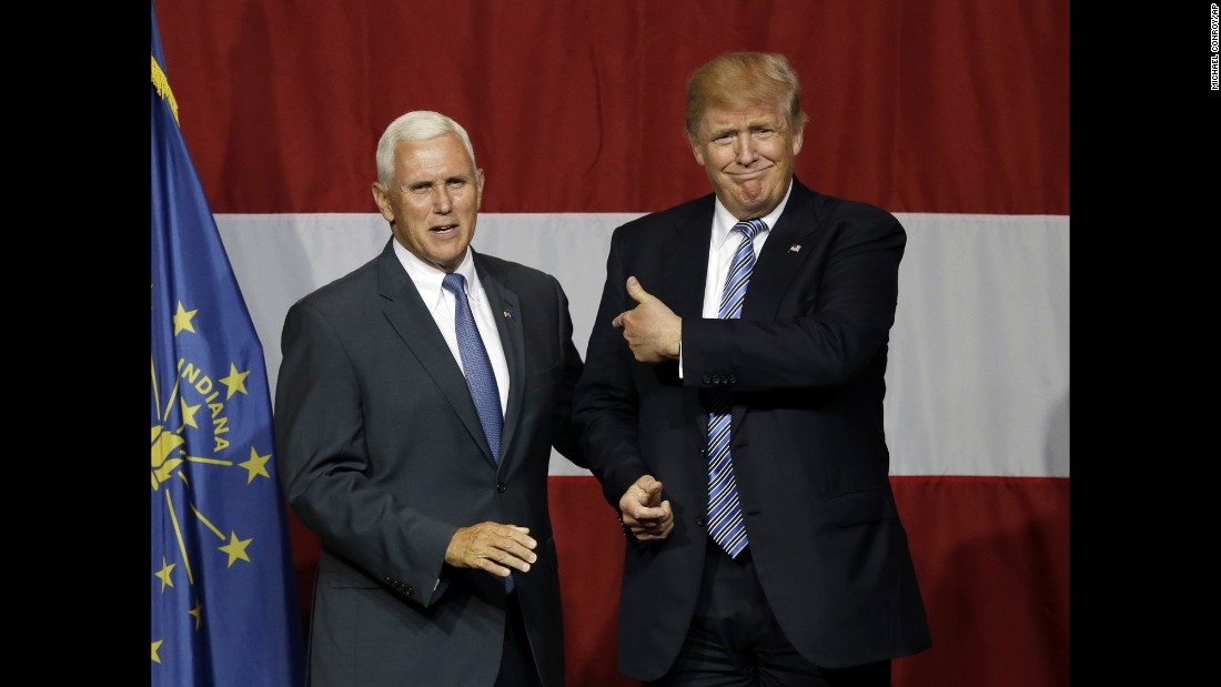 """Indiana Gov. Mike Pence joins Republican presidential candidate Donald Trump at a rally in Westfield, Indiana, on Tuesday, July 12. CNN learned Thursday evening that <a href=""""http://www.cnn.com/2016/07/14/politics/donald-trump-vice-presidential-choice/index.html"""" target=""""_blank"""">Trump offered Pence the vice presidential slot on his ticket</a>, and Pence accepted."""