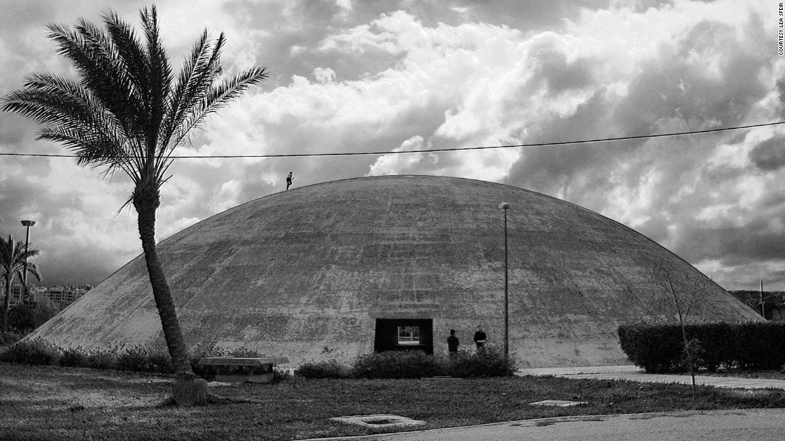 """The Experimental Theater is a huge dome with thick concrete walls rising at an extreme angle from the ground. """"It's not easy to make such a form without concrete, so in the '50s and '60s it was considered extremely modern,"""" says local guide Mira Minkara."""
