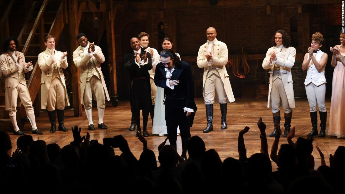 """Hamilton"" creator Lin-Manuel Miranda, center, <a href=""http://money.cnn.com/2016/07/09/media/hamilton-lin-manuel-miranda-last-show/"" target=""_blank"">takes his final curtain call</a> as star after a performance in New York on Saturday, July 9. ""Hamilton"" won 11 awards at this year's Tony Awards, a Pulitzer Prize and a Grammy."