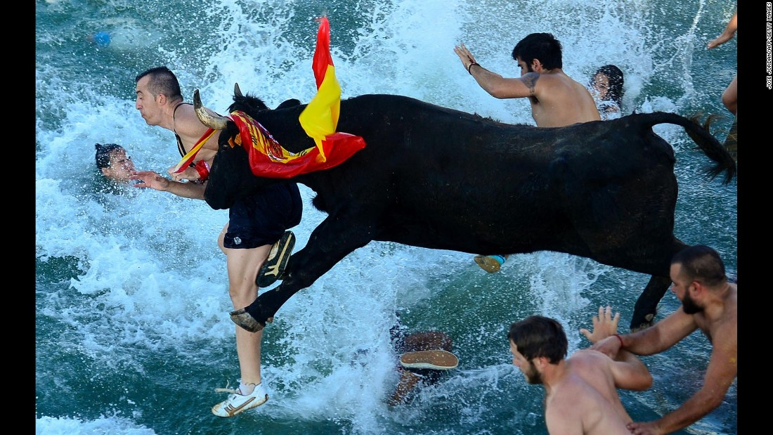 """Spectators jump into water during a traditional running of the bulls event called """"Bous a la mar,"""" or """"Bull to the sea,"""" on Denia Harbor in Spain on Saturday, July 9."""
