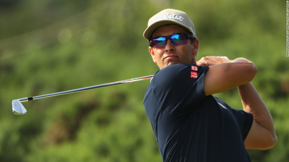 """World No. 8 Adam Scott will never forget his<a href=""""http://edition.cnn.com/2016/07/14/golf/gallery/the-open-golf-biggest-meltdowns/index.html""""> torrid conclusion </a>to 2012's edition of the Open Championship. Today, though, the Australian looked solid, if unspectacular -- coming up the front nine at one under par."""