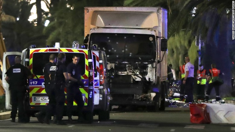 The truck plowed into a crowd leaving a Bastille Day fireworks display in Nice, on Thursday, July 14. One witness, an American who was about 15 feet from the truck, said the driver accelerated and pointed his tractor-trailer into the crowd, moving bodies over.