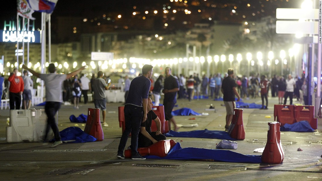 """The scene of a Bastille Day celebration in Nice, France, is seen on Thursday, July 14, <a href=""""http://www.cnn.com/2016/07/14/europe/nice-france-truck/index.html"""" target=""""_blank"""">after a truck ran into a crowd</a>. Dozens of people were killed or injured."""
