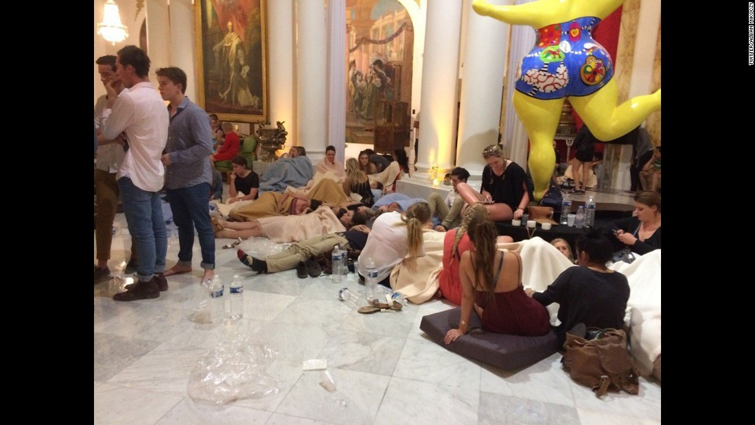 A photo from the Twitter account of a reporter for  CNN affiliate France 2 shows witnesses being interviewed inside the Hotel Negresco after the attack. According to Alban Mikoczy, these people are not injured.
