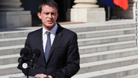 """French Prime Minister Manuel Valls makes a statement following a security meeting with French President on July 15, 2016 at the Elysee Palace in Paris, a day after a gunman smashed a truck into a crowd of revellers celebrating Bastille Day in the city of Nice.  An attack in Nice where a man rammed a truck into a crowd of people left 84 dead and another 18 in a """"critical condition"""", interior ministry spokesman Pierre-Henry Brandet said on July 15. An unidentified gunman barrelled the truck two kilometres (1.3 miles) through a crowd that had been enjoying a fireworks display for France's national day before being shot dead by police. / AFP / Thomas SAMSON        (Photo credit should read THOMAS SAMSON/AFP/Getty Images)"""