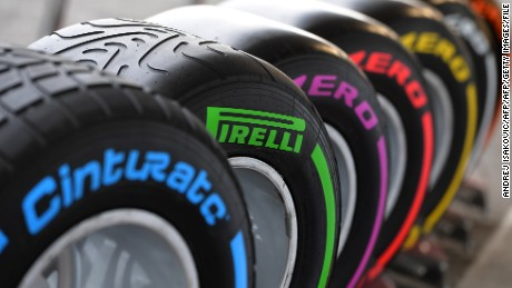 Pirelli Formula 1 tyres stand at their base in the paddock at the Baku City Circuit, on June 17, 2016 in Baku, two days ahead of the European Formula One Grand Prix.  / AFP / ANDREJ ISAKOVIC        (Photo credit should read ANDREJ ISAKOVIC/AFP/Getty Images)