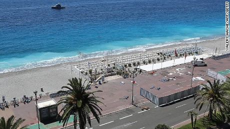 Nice's normally teeming Promenade des Anglais seafront stands deserted.
