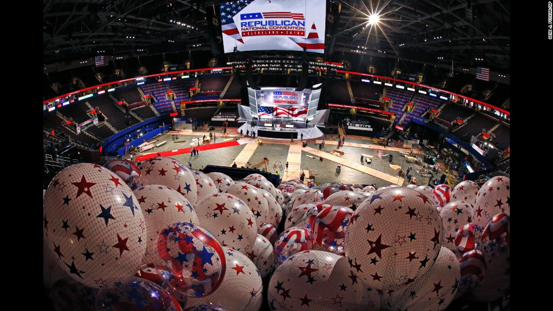 """Balloons are ready as preparation continues Thursday, July 14, for the <a href=""""http://www.cnn.com/2016/07/12/politics/cnnphotos-cleveland-alex-webb/"""" target=""""_blank"""">upcoming Republican National Convention</a> in Cleveland. The convention is to take place from July 18 through 21."""