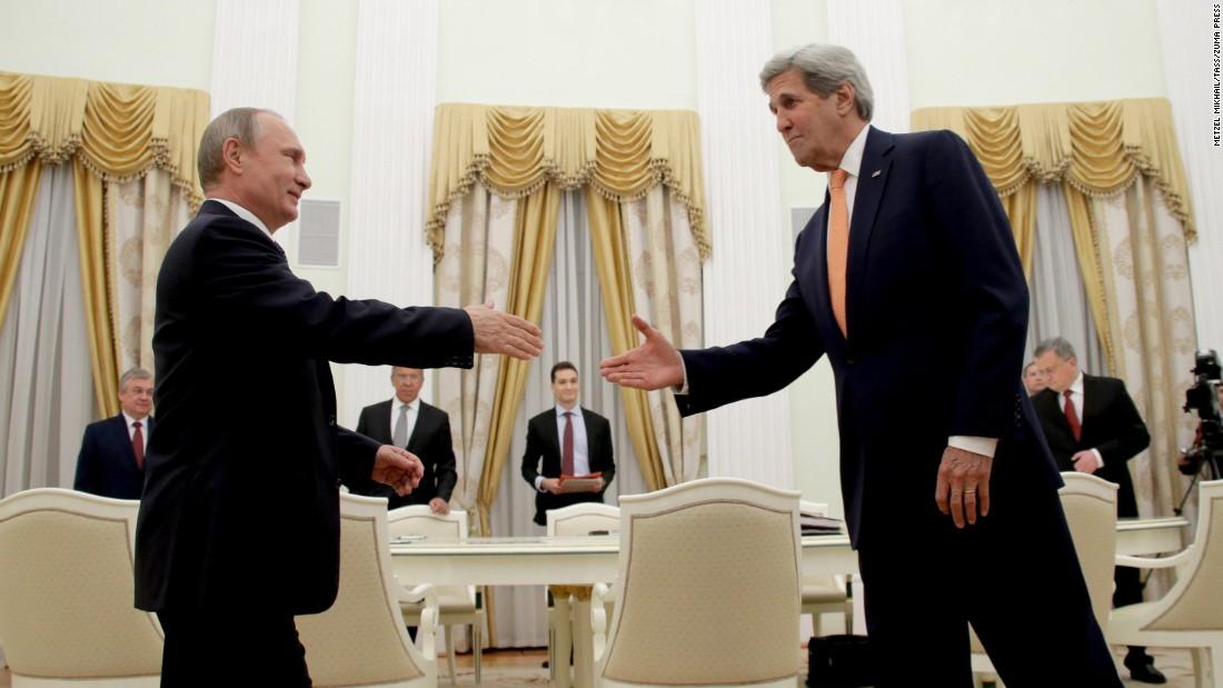 Russian President Vladimir Putin, left, and U.S. Secretary of State John Kerry meet at Moscow's Kremlin on Thursday, July 14.