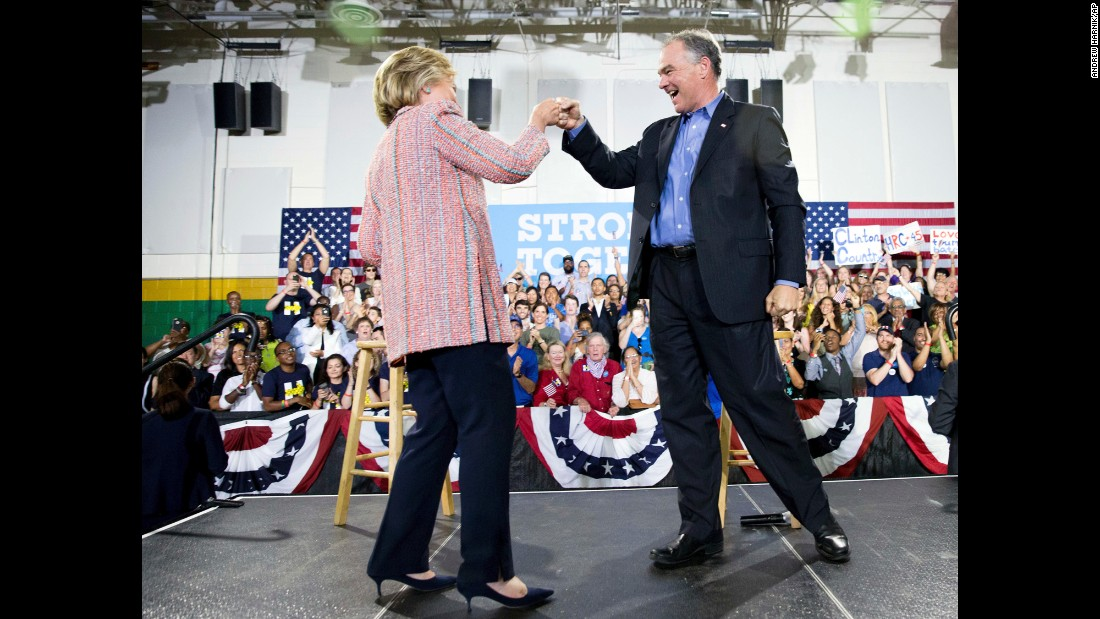 """Democratic presidential candidate Hillary Clinton fist bumps Virginia Sen. Tim Kaine after speaking at a rally at Northern Virginia Community College in Annandale on Thursday, July 14. Kaine has been <a href=""""http://www.cnn.com/2016/07/14/politics/hillary-clinton-vice-president-choice/"""" target=""""_blank"""">rumored to be one of Clinton's possible choices for vice president</a>."""