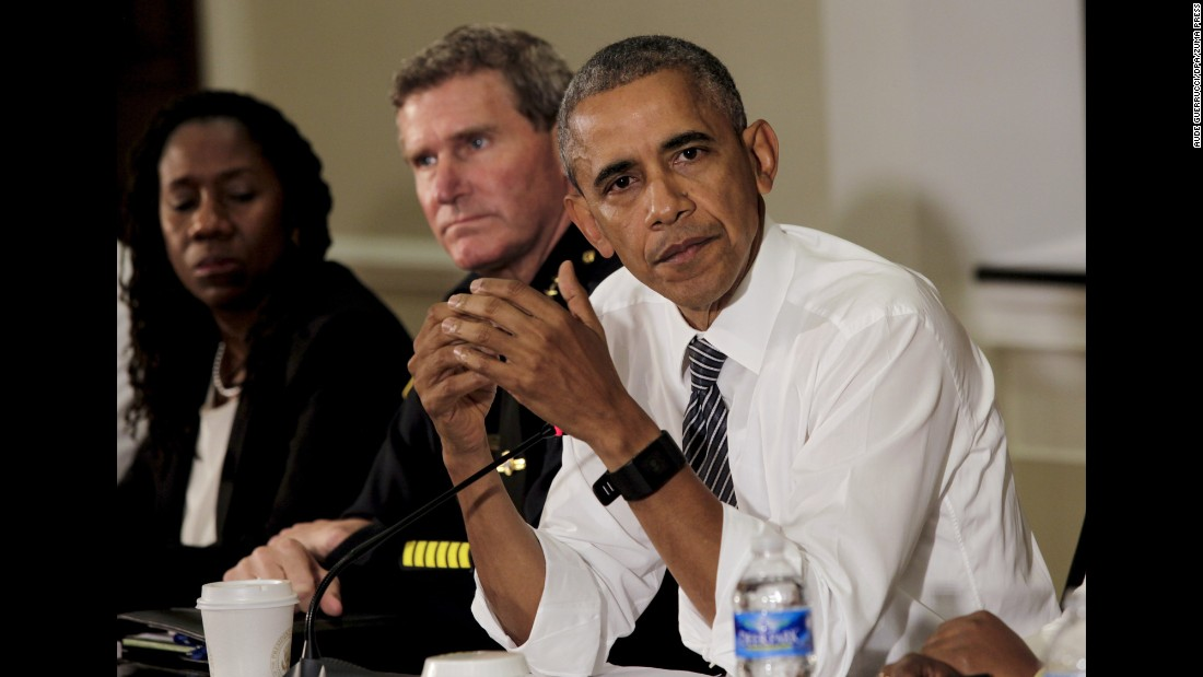 U.S. President Barack Obama hosts a conversation on community policing and criminal justice in the Eisenhower Executive Office Building of the White House on Wednesday, July 13.