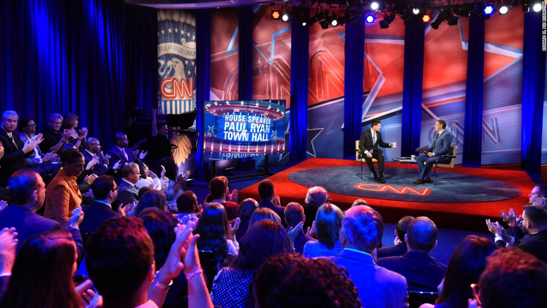 """House Speaker <a href=""""http://www.cnn.com/2016/07/12/politics/paul-ryan-highlights-town-hall/"""" target=""""_blank"""">Paul Ryan appears at a CNN Town Hall</a> moderated by Jake Tapper at Time Warner Studios in New York on Tuesday, July 12."""