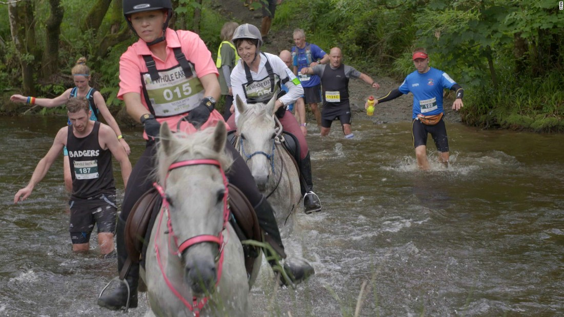 The risks of uneven rocks, the water crossings and the potential to get clipped by a horse require mental focus and attention to obstacles for the runners.