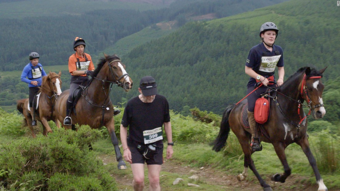 Two miles into the race, the course heads off the paved road and up a trail with a steep incline of roughly 30% grade. This is often where horses pass most of the runners, who tend to walk this section.<br />