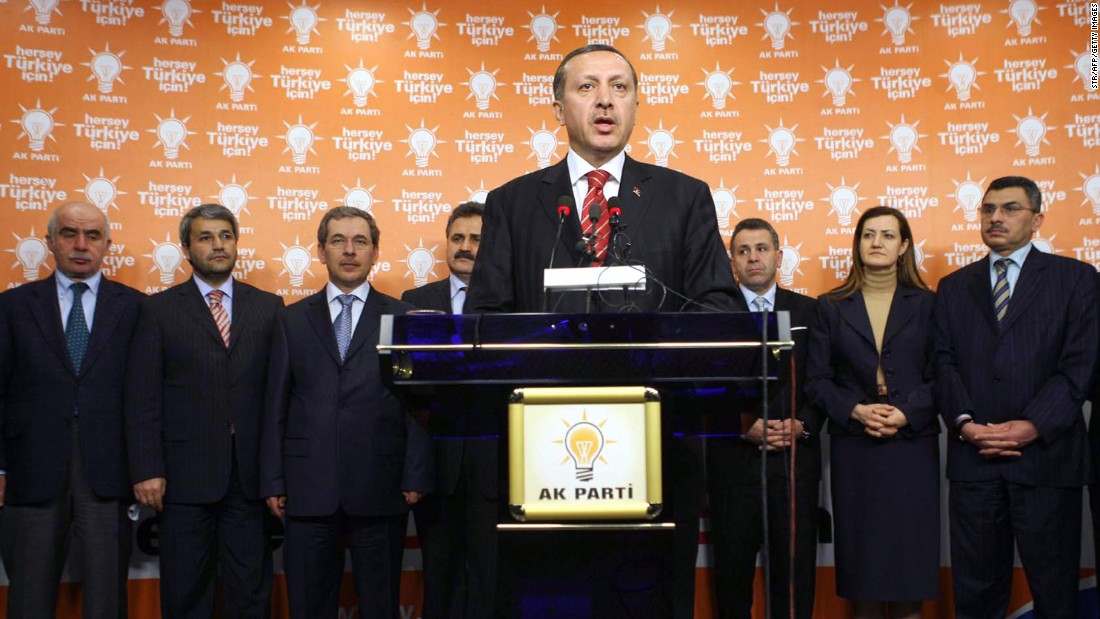 Erdogan addresses the media after a meeting with his deputies at his ruling Justice and Development Party (AK Party) headquarters in Ankara, Turkey, on May 1, 2007. Erdogan unveiled a reform package, including having future presidents elected by popular vote instead of by parliament.