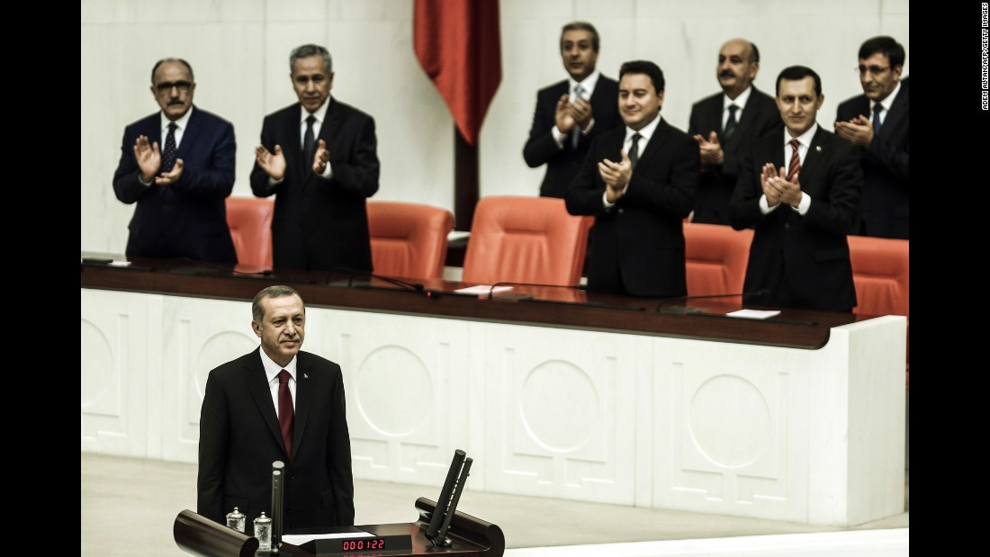 Erdogan attends a swearing in ceremony in Ankara, Turkey, on August 28, 2014. Erdogan was sworn in as Turkey's 12th president at a ceremony in parliament, cementing his position as the country's most powerful modern leader.
