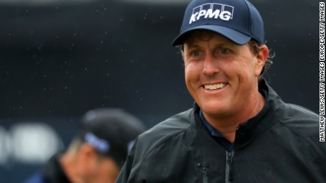 TROON, SCOTLAND - JULY 15:  Phil Mickelson of the United States smiles after completig his second round on day two of the 145th Open Championship at Royal Troon on July 15, 2016 in Troon, Scotland.  (Photo by Matthew Lewis/Getty Images)