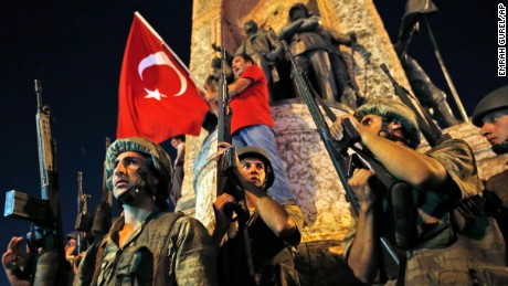 Turkish soldiers on the streets.