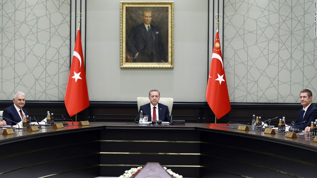 Erdogan, center, chairs the meeting of the 65th Cabinet of Turkey at the presidential complex in Ankara, Turkey, on Wednesday, May 25.