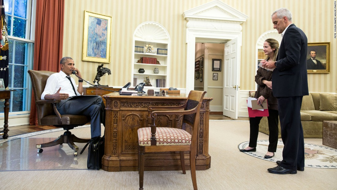 """President Barack Obama talks on the phone  with Secretary of State John Kerry regarding <a href=""""http://edition.cnn.com/2016/07/15/asia/turkey-military-action/index.html"""" target=""""_blank"""">the situation in Turkey</a> on Friday July 15. Chief of Staff Denis McDonough and Avril Haines, deputy national security adviser, listen."""
