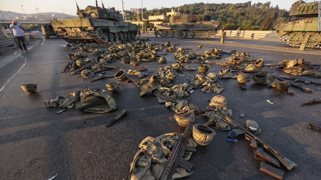 Clothes and weapons belonging to soldiers involved in the coup attempt are scattered on Bosphorus Bridge in  Istanbul.