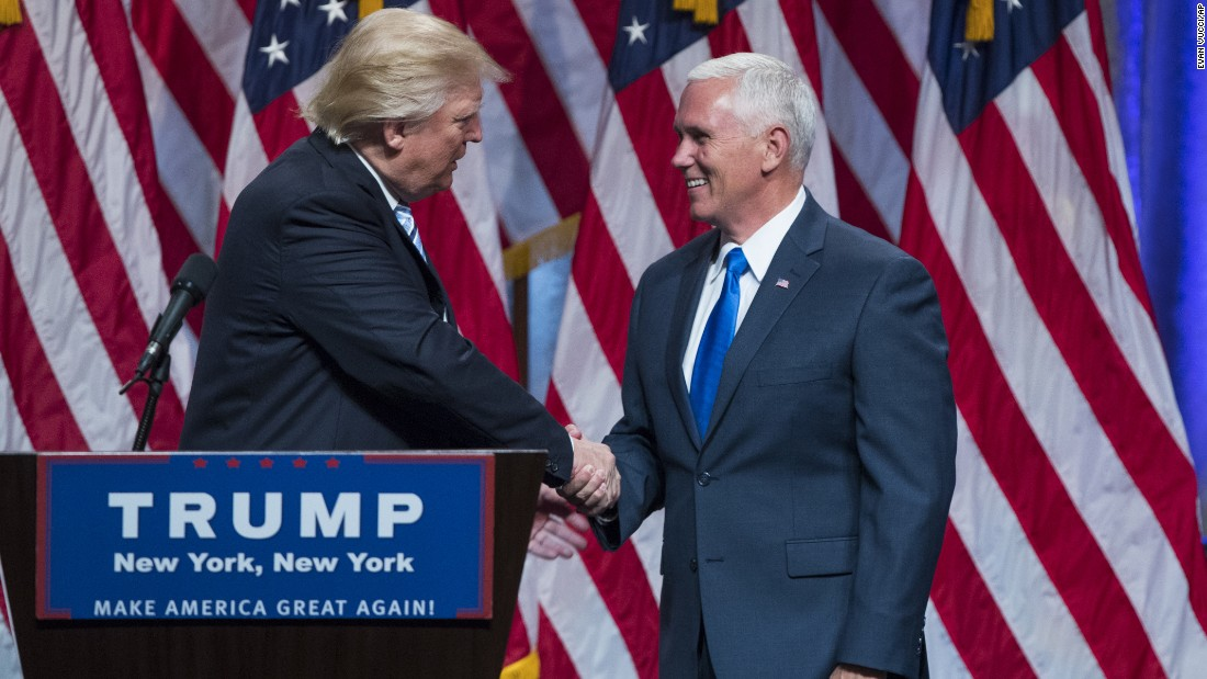 """Republican presidential candidate Donald Trump introduces Indiana Gov. Mike Pence during a <a href=""""http://www.cnn.com/2016/07/16/politics/donald-trump-mike-pence-campaign-trail/index.html"""" target=""""_blank"""">campaign event to announce Pence </a>as his vice presidential running mate on Saturday, July 16, in New York."""