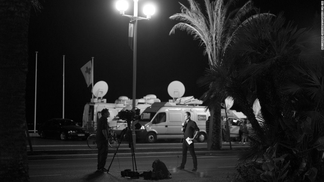 Sanguinetti says there seemed to be more journalists than residents and tourists along the Promenade des Anglais the night after the attack.