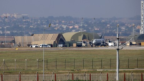 A military aircraft is pictured on the runway at Incirlik Air Base, in the outskirts of the city of Adana, southeastern Turkey, on July 28, 2015.