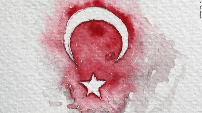 Emir Isik sketched the Turkish flag after Friday's violent night.