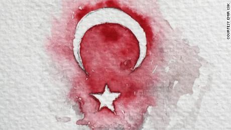 Emir Isik's sketch of the Turkish flag.