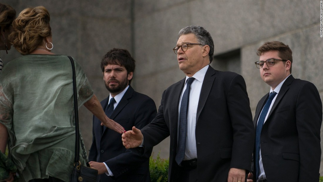 """Sen. Al Franken, center, arrives outside the<a href=""""http://www.cnn.com/2016/07/14/us/police-shootings-investigations/"""" target=""""_blank""""> funeral of Philando Castile</a> at the Cathedral of St. Paul on Thursday, July 14, in St. Paul, Minnesota. Castile was shot and killed on July 6 by police in Falcon Heights, Minnesota. Fraken, along with fellow Minnesota Sen. Amy Klobuchar and Minnesota Reps. Betty McCollum and Keith Ellison, sent a letter to Attorney General Loretta Lynch asking for a federal investigation into the death of  Castile, according to a letter provided to CNN.<br />"""