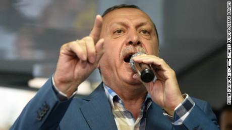 Erdogan speaks to supporters on Saturday in Istanbul.