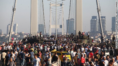 Thousands crowd the Bosphoros bridge in Istanbul after the coup failed.